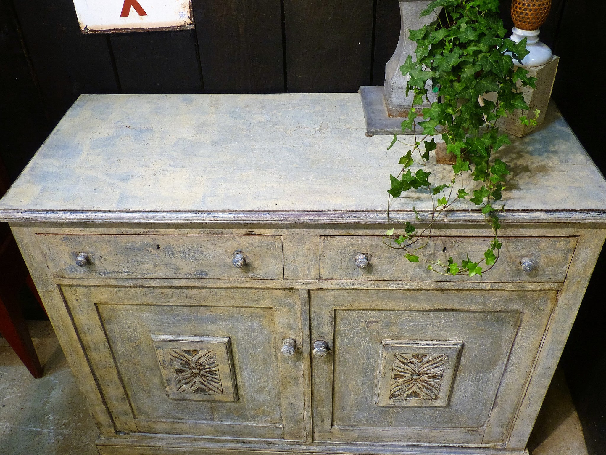 Late 19th century French buffet with blue / grey patina