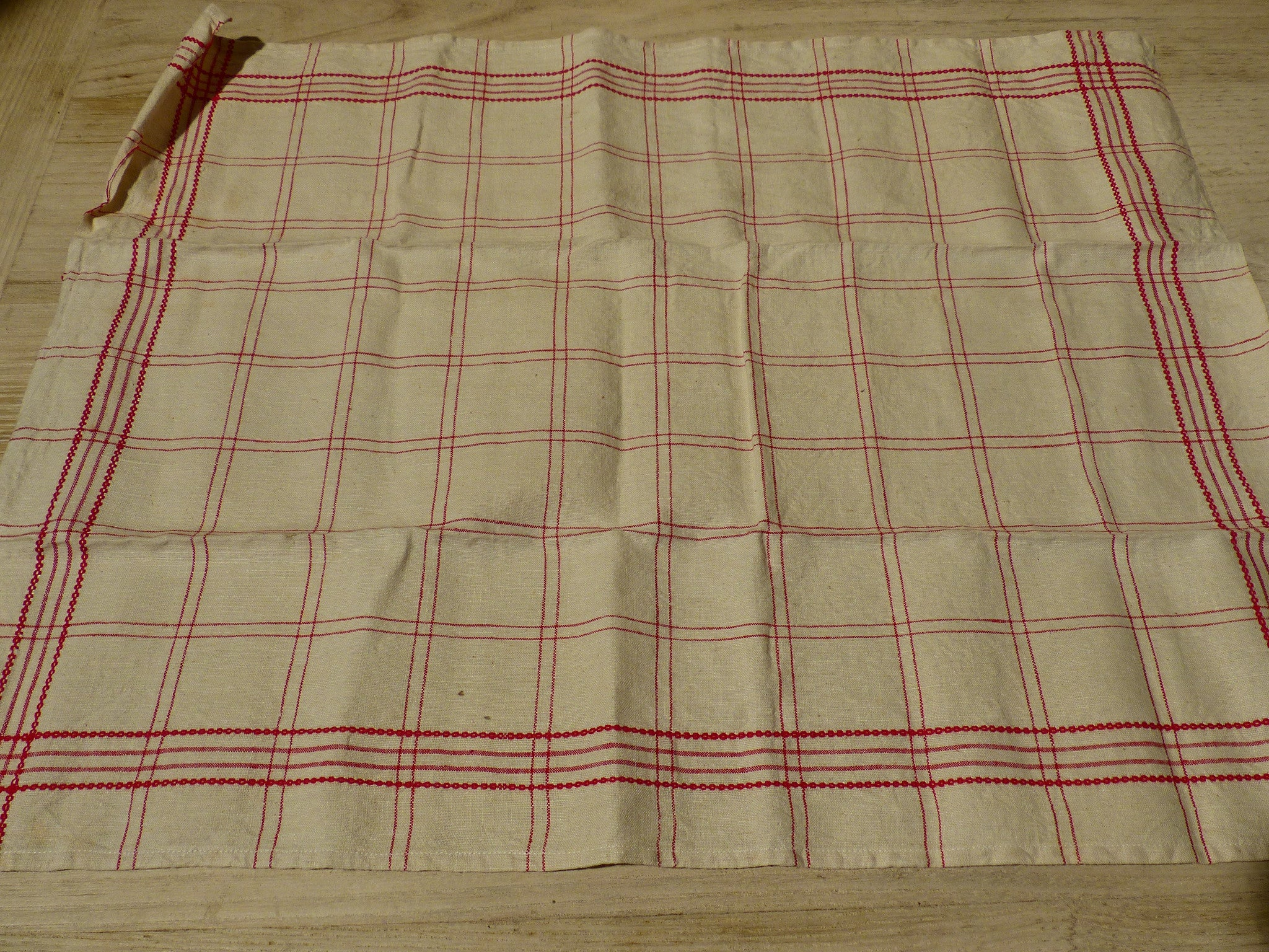 Pair of red and cream tea towels