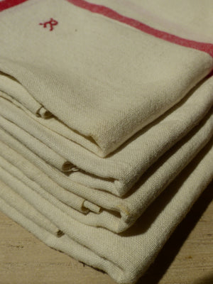 Set of 4 French linen tea towels with 'R' monogram
