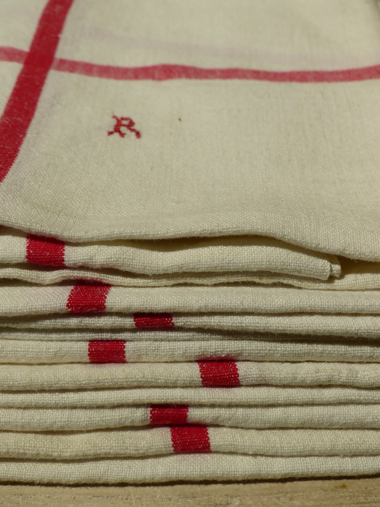 "Set of 4 French linen tea towels with ""R' monogram"