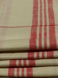 Set of 4 red checked fine linen tea towels