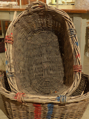 Large French wicker basket with red and blue