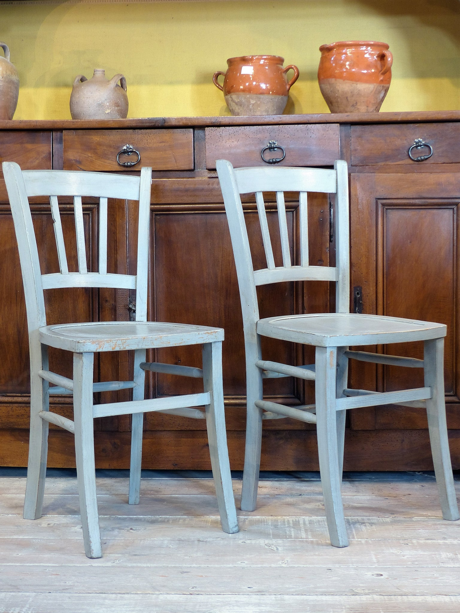 "Pair of 1950's French ""Luterma' bistro chairs"