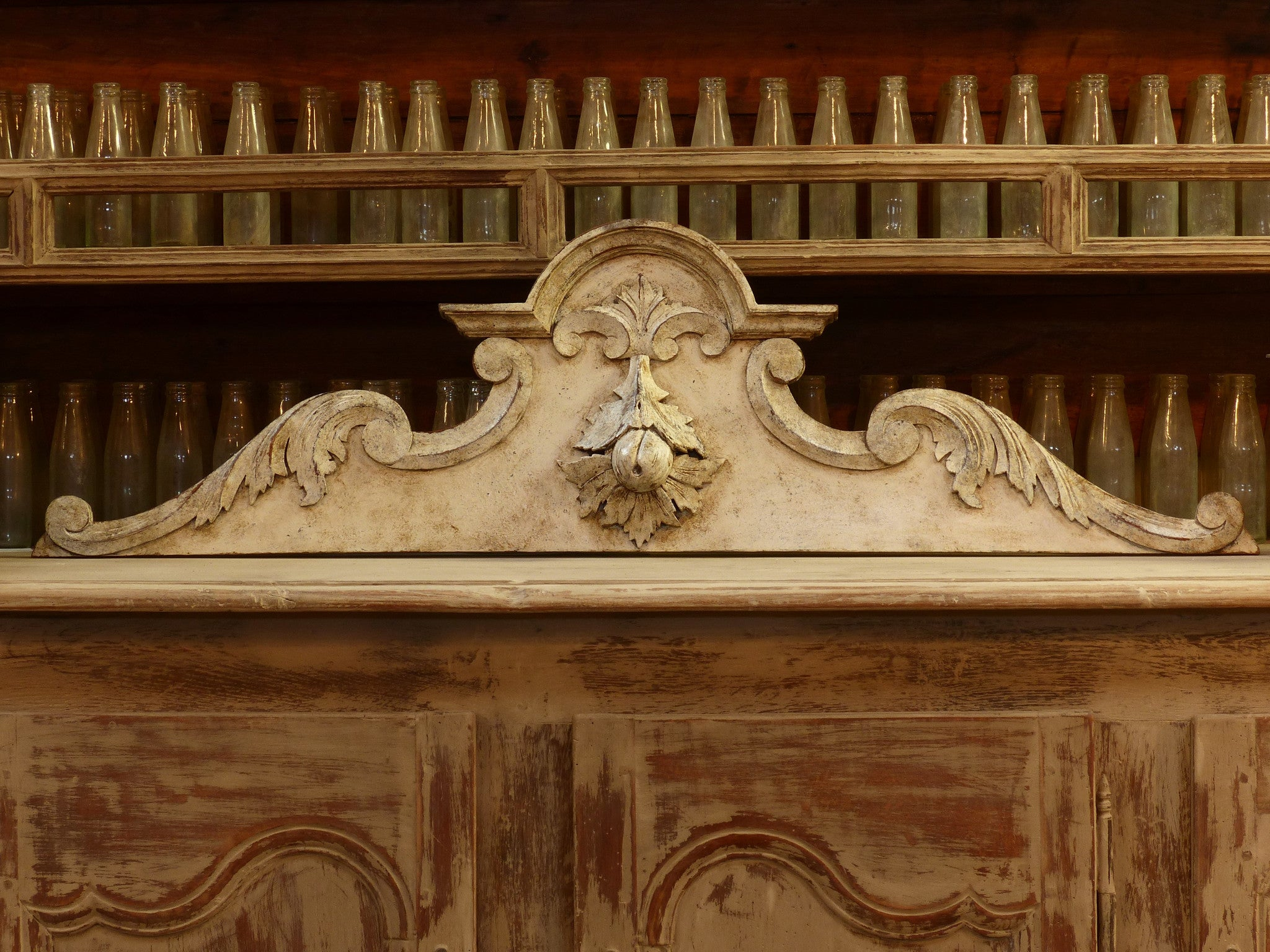 Late 19th century French pediment with white patina