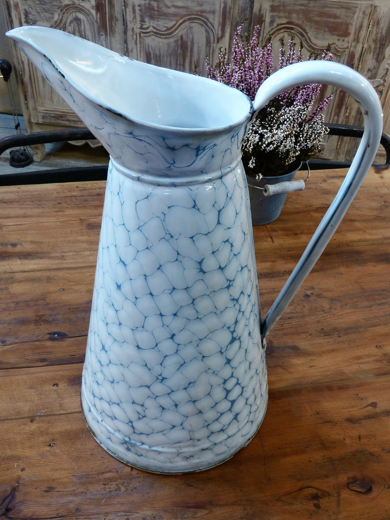 French vintage enamel jug with blue pattern