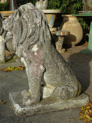Pair of large vintage garden lions