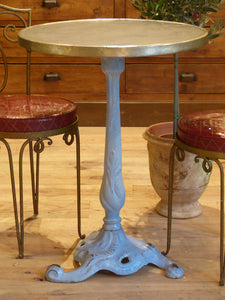 Round black marble top bistro table with blue stand - Toulouse
