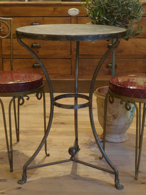 Round marble bistro table with cast iron legs