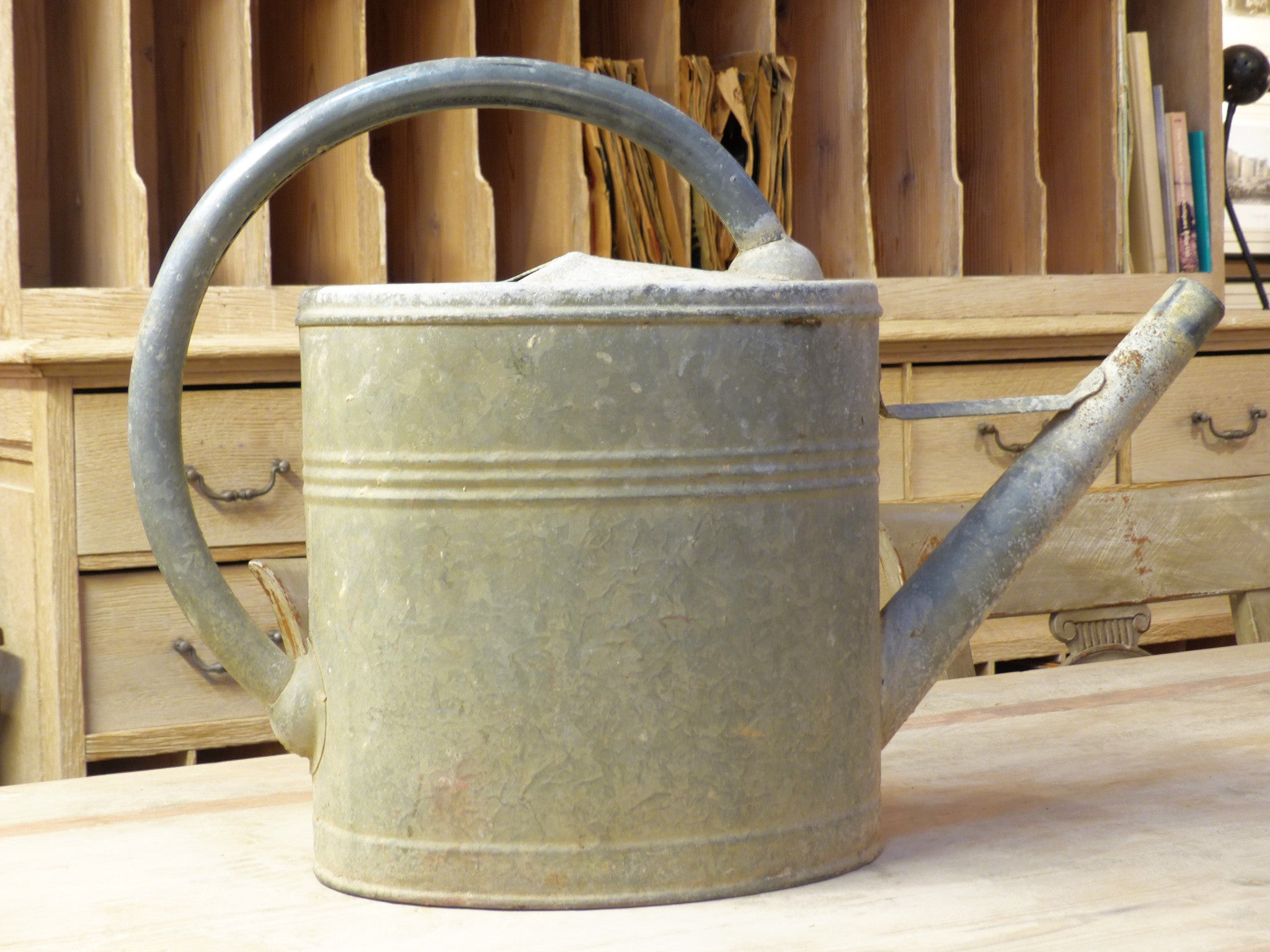 Vintage French zinc watering can