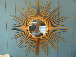Large Chaty Vallauris sunburst mirror with flat glass