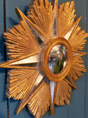 Gilt-wood starburst mirror - 1960's