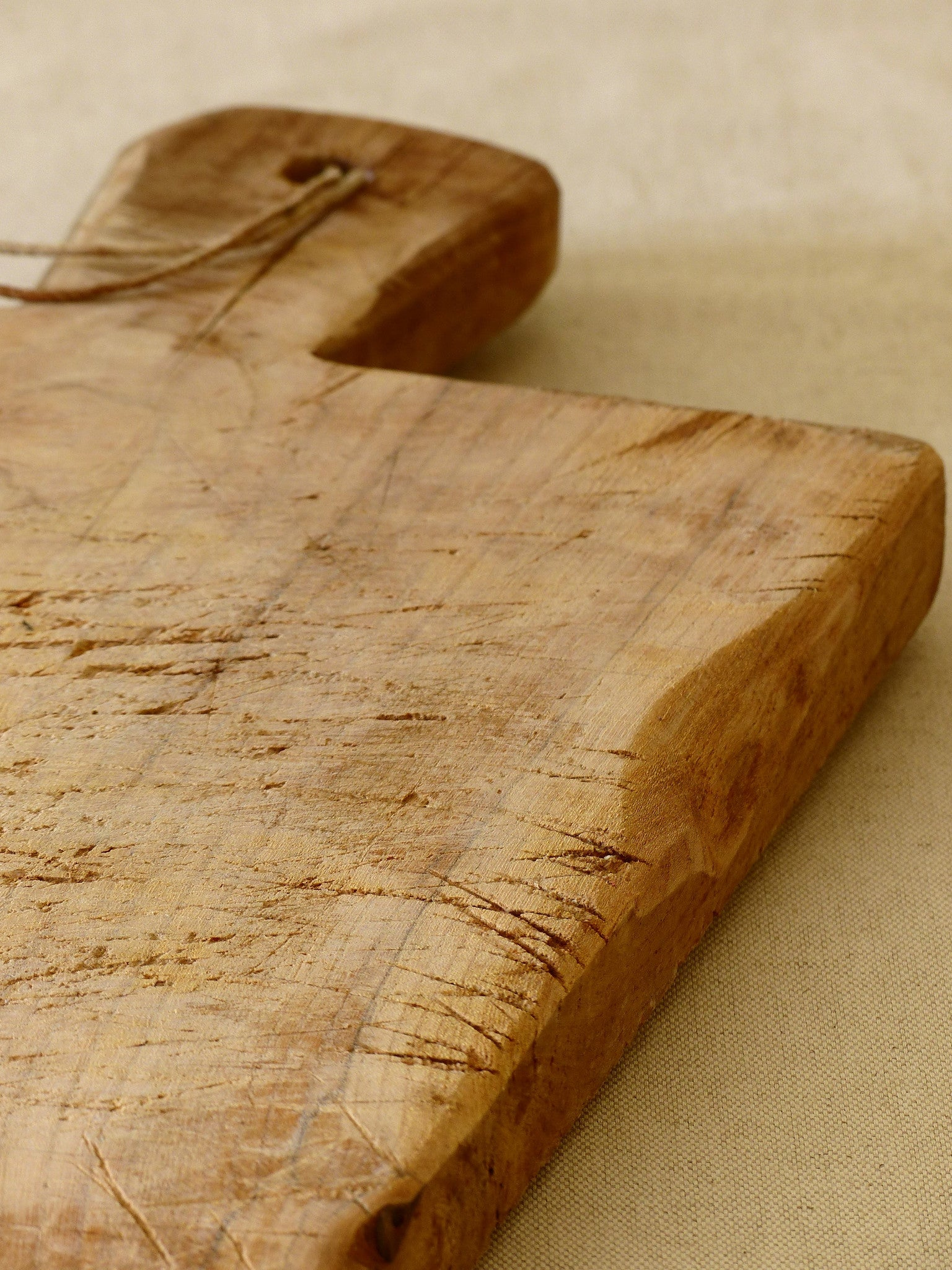 Rustic French cutting board with string
