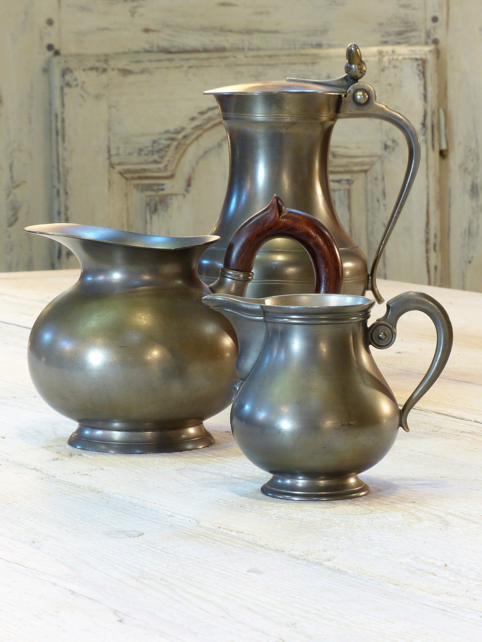 Three French pewter jugs - 1950's