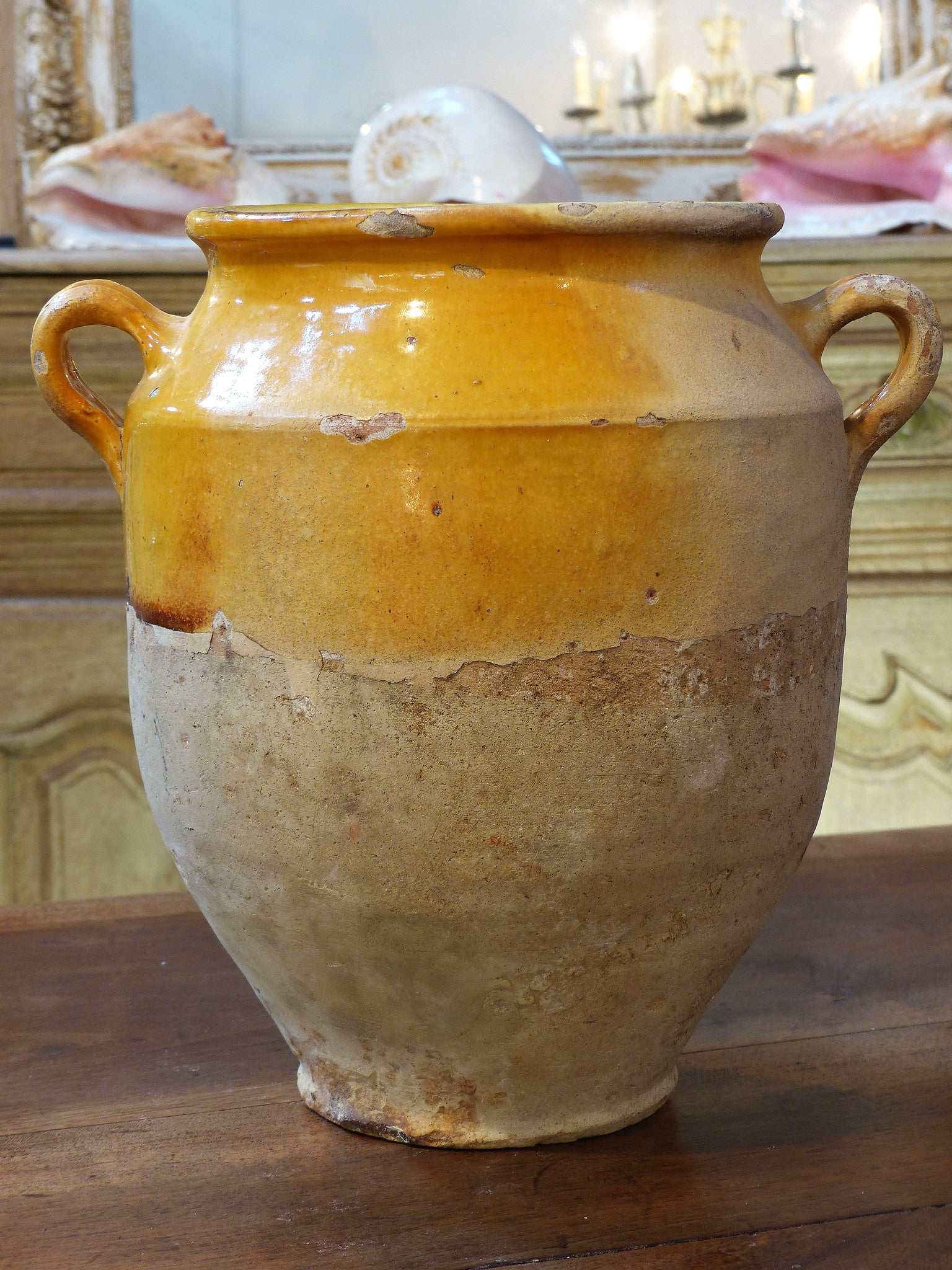 19th century French confit pot with orange glaze - 11¾""