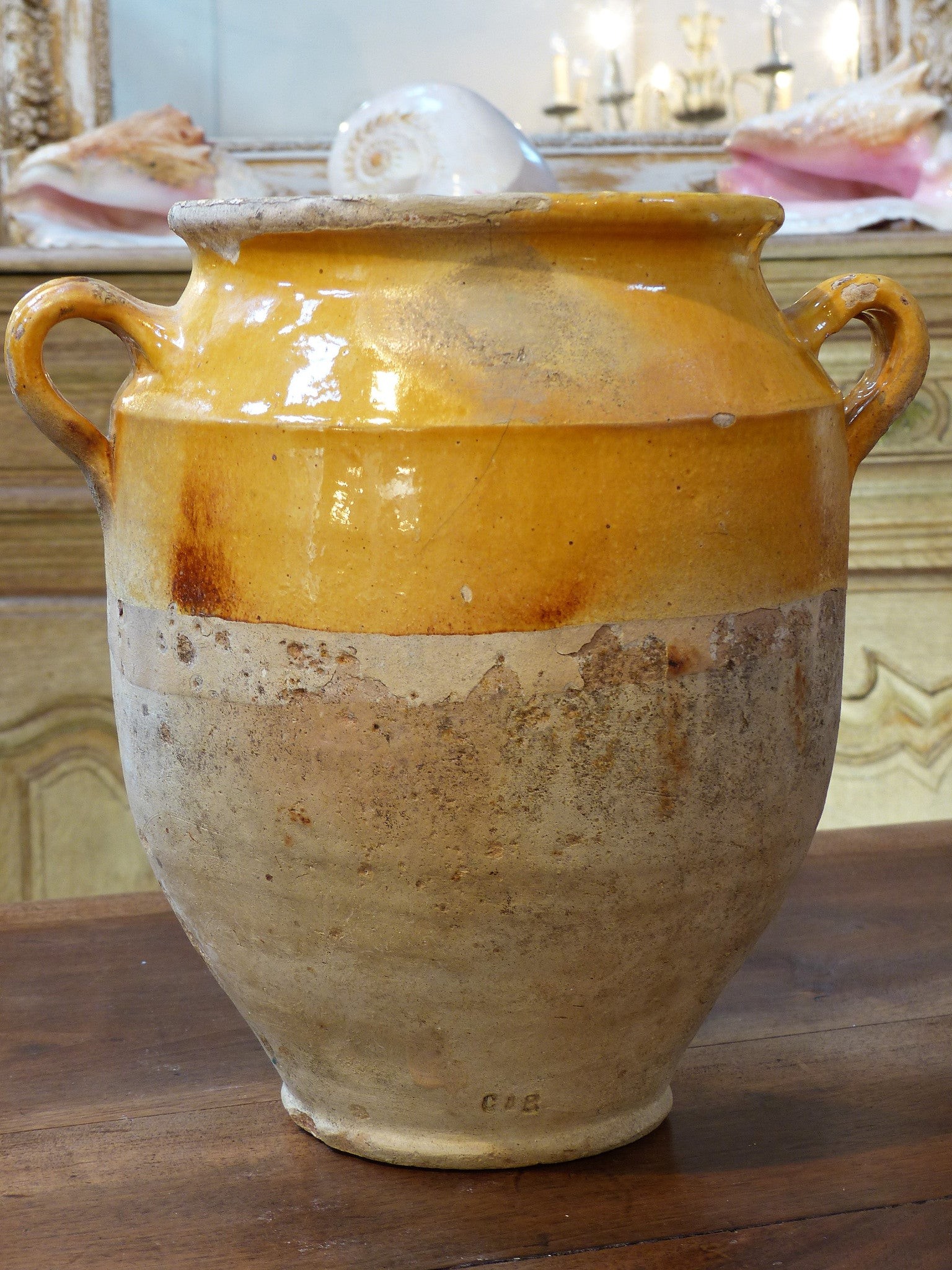 "19th century French confit pot with orange glaze - 11¾""?"