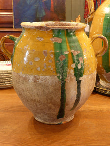 "Large 19th century confit pot with orange and green glaze - 13½""?"
