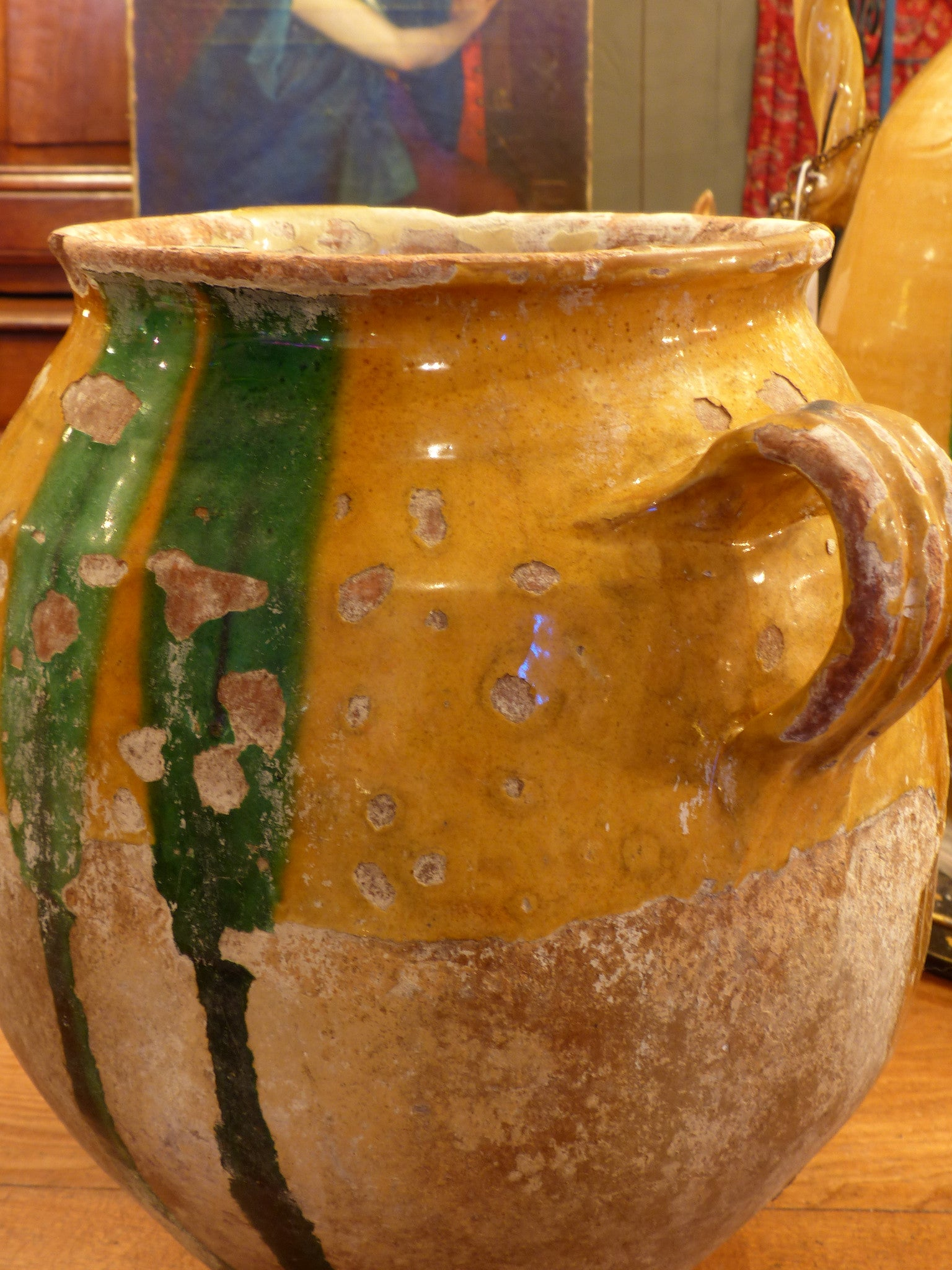 Large 19th century confit pot with orange and green glaze - 13½""