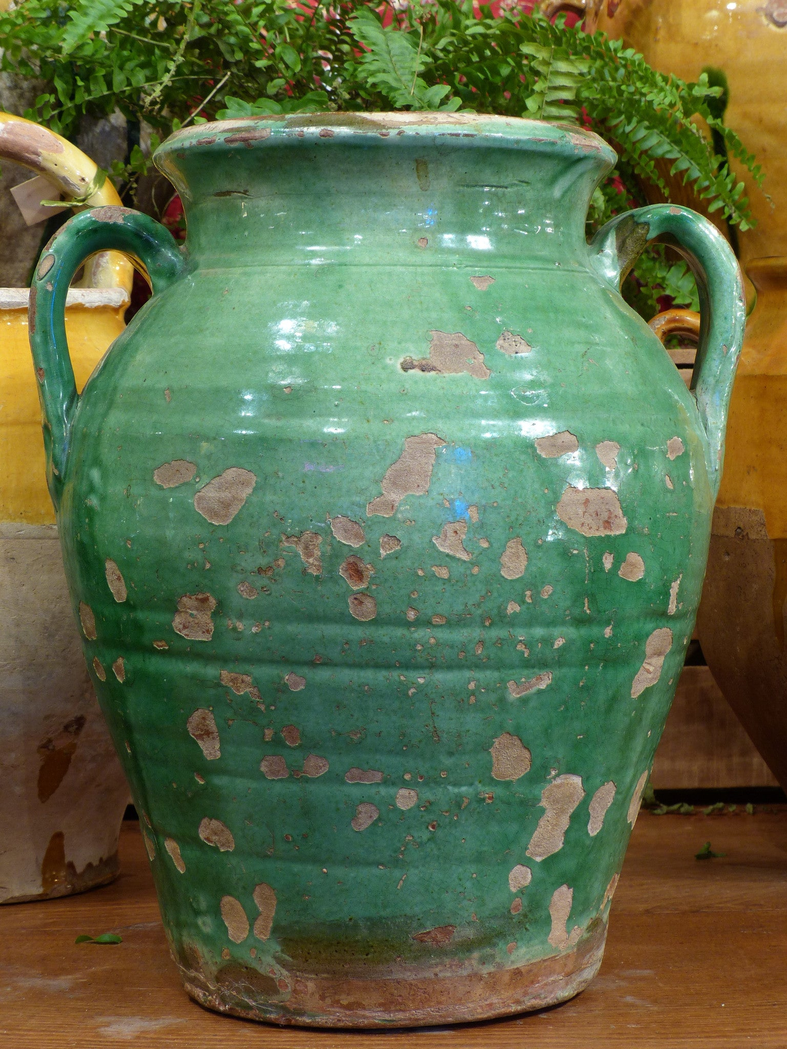 Late 19th century green Anduze vase – 14½""