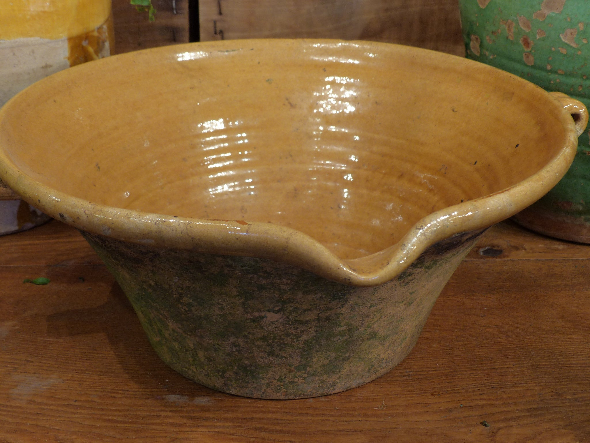 19th century French confit bowl with ochre glaze 2/2