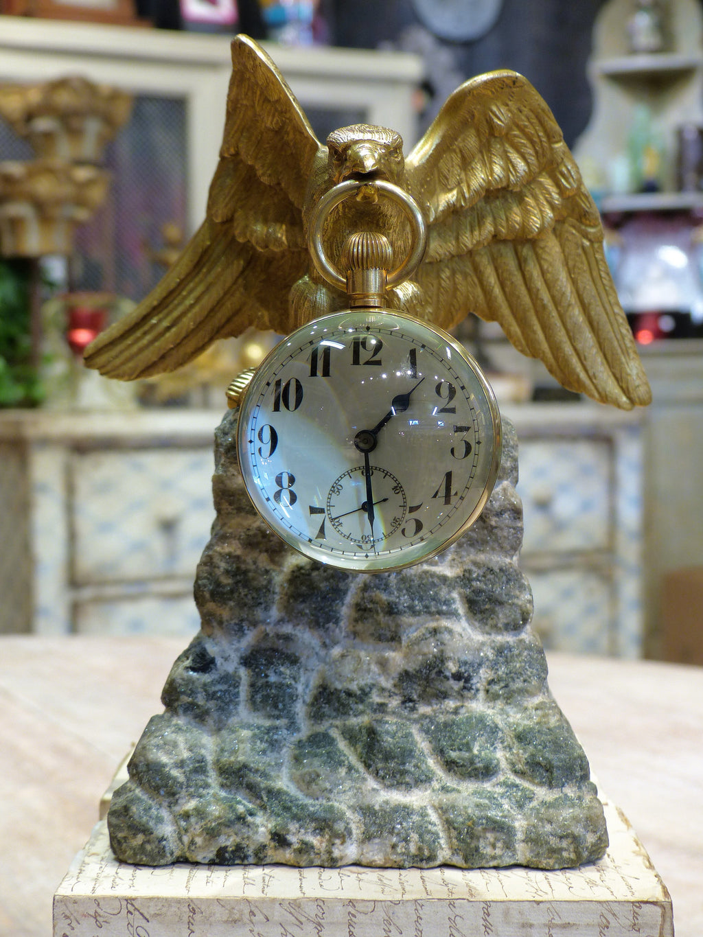Late 19th century gilded eagle table clock