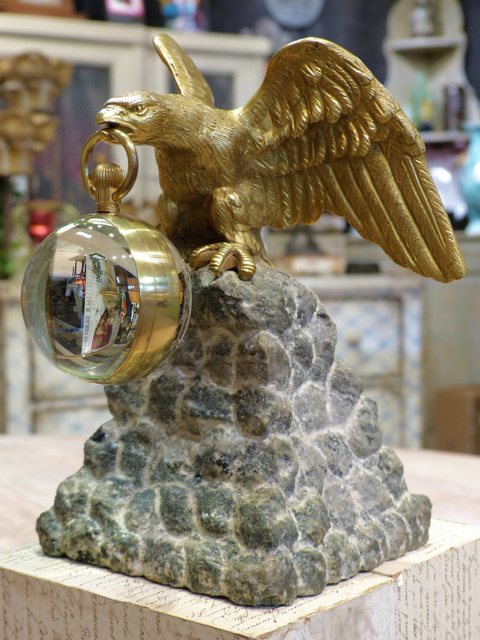 Antique gilded eagle table clock