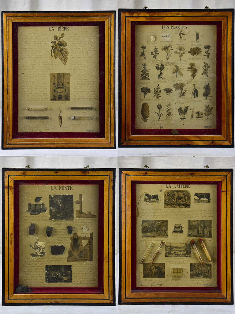 Collection of four antique framed curiosities - herbs, beer ingredients, milk and cast iron processes