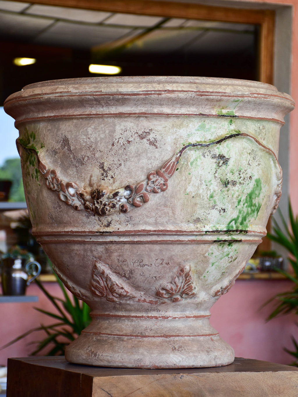 Terracotta cup shaped planters -anduze style with antica finish