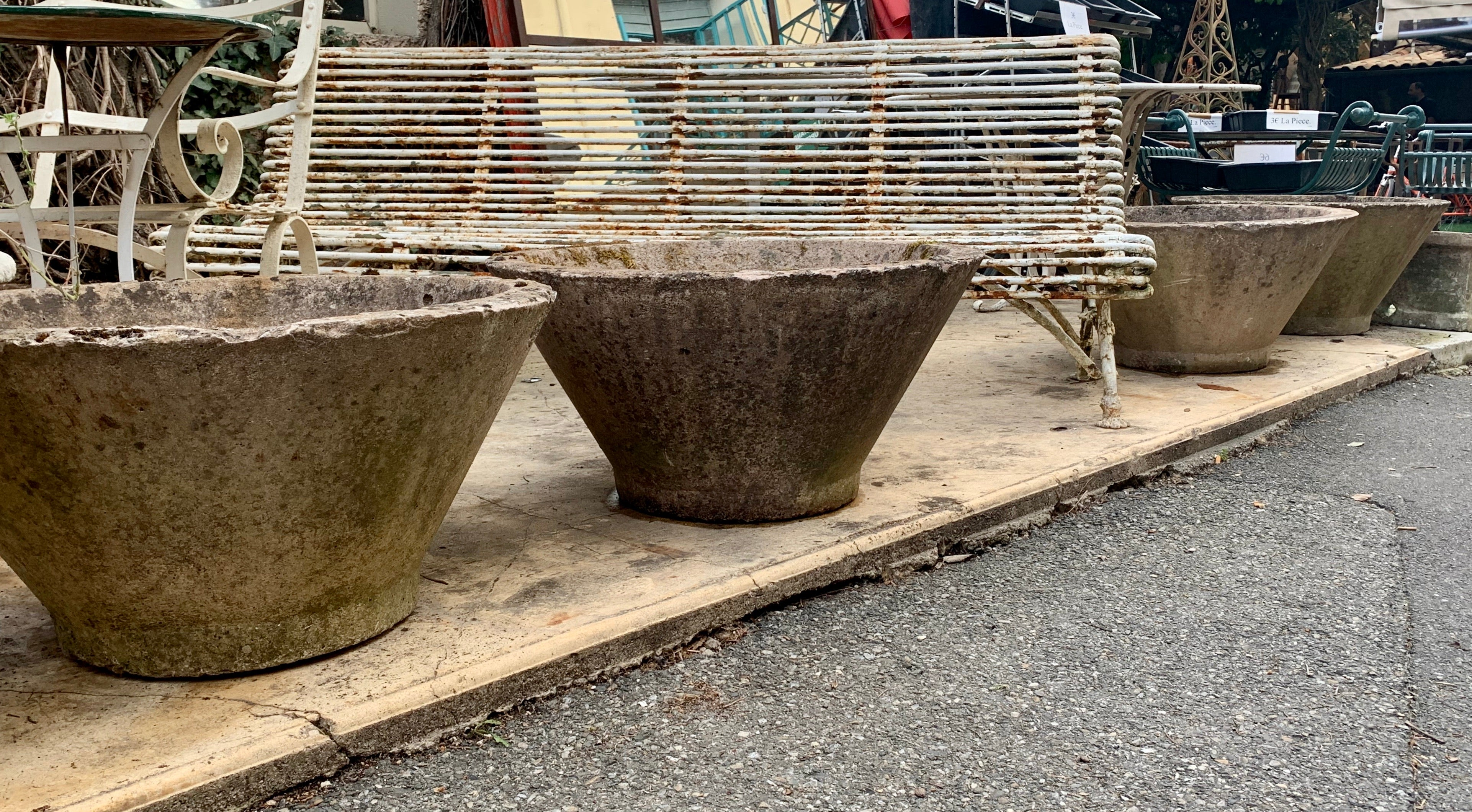 Set of six 1970s cement garden planters