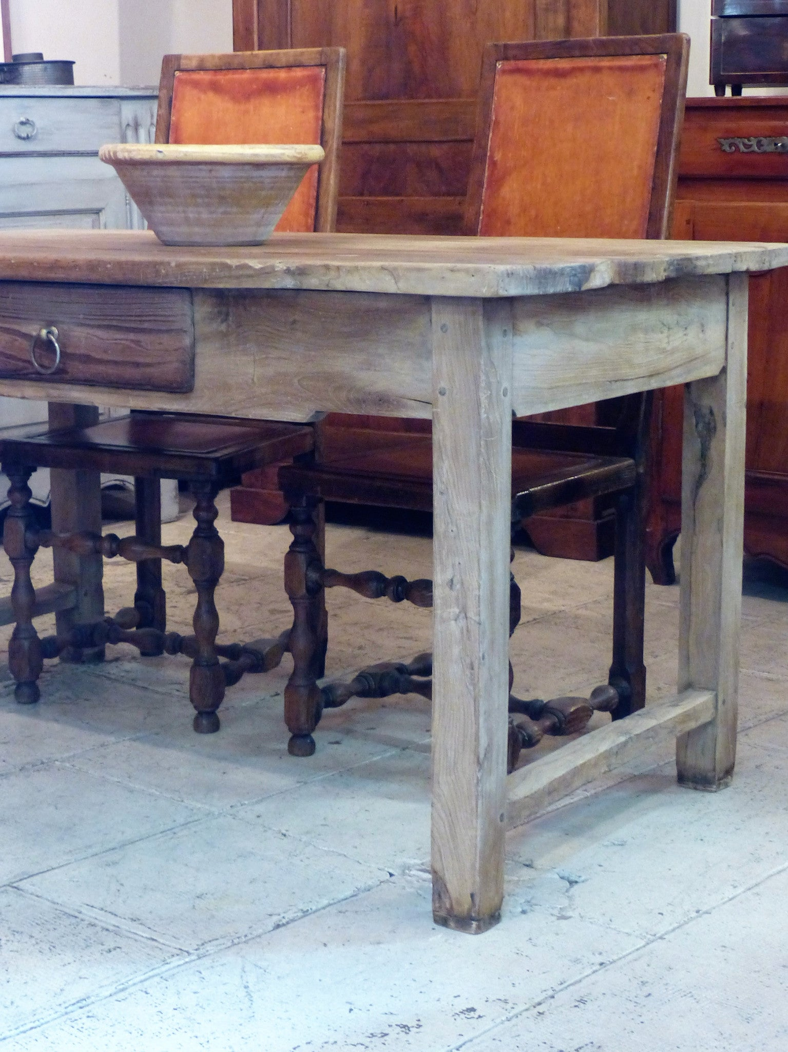 18th century olive wood table de ferme