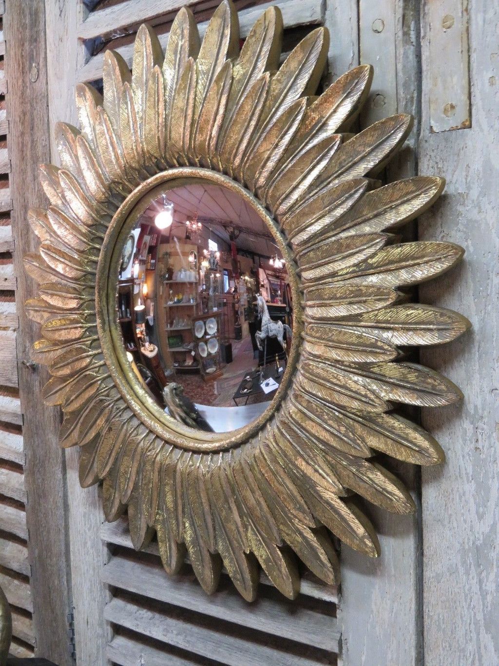 Vintage sunburst mirror - feather frame and convex mirror 23 ½'' diameter