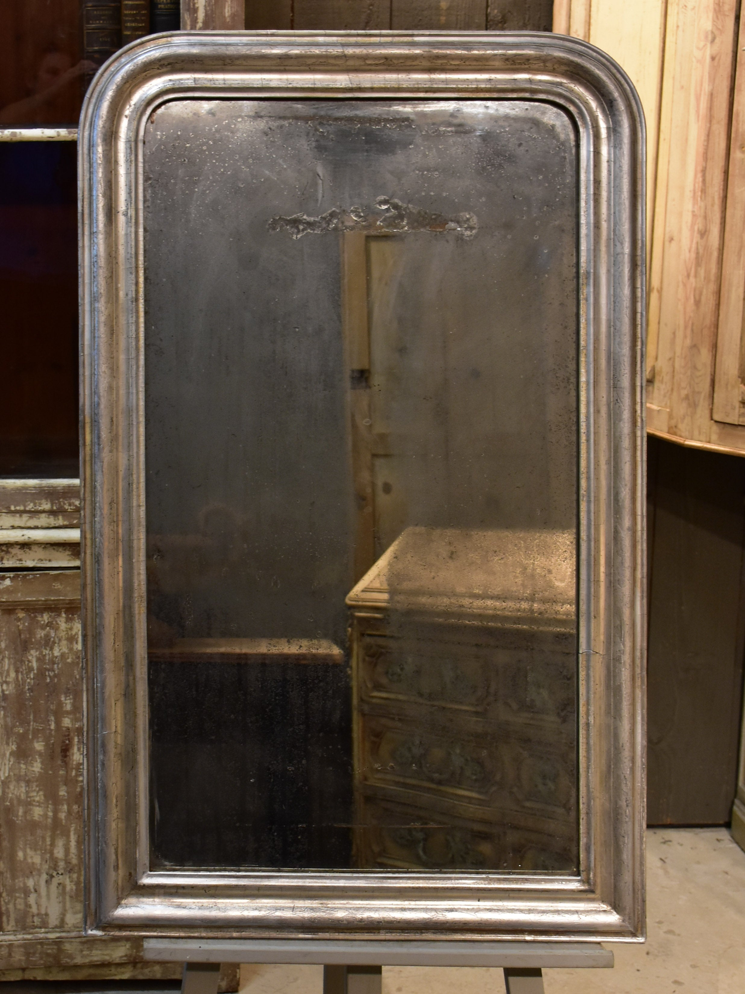 Large rustic silver framed Louis Philippe mirror