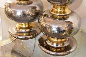 Extra-large vintage lamps with a metallic finish