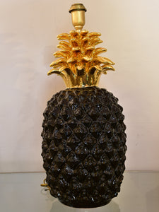 Large black pineapple lamp in the style of Maison Charles