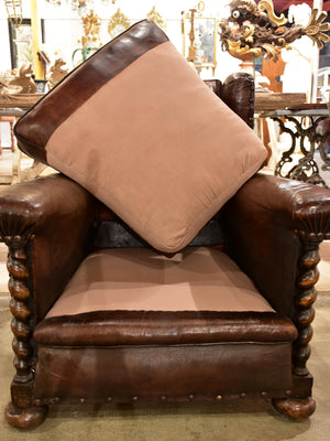 Dark French wingback club chair #2
