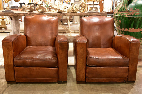 Pair of 1950's French club chairs – small chapeau gendarme