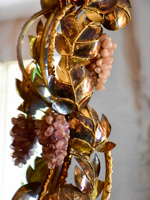 Richard Faure mirror with sculptural vine leaf and grape frame