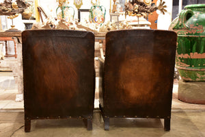 Pair of 1920's French club chairs with dark leather