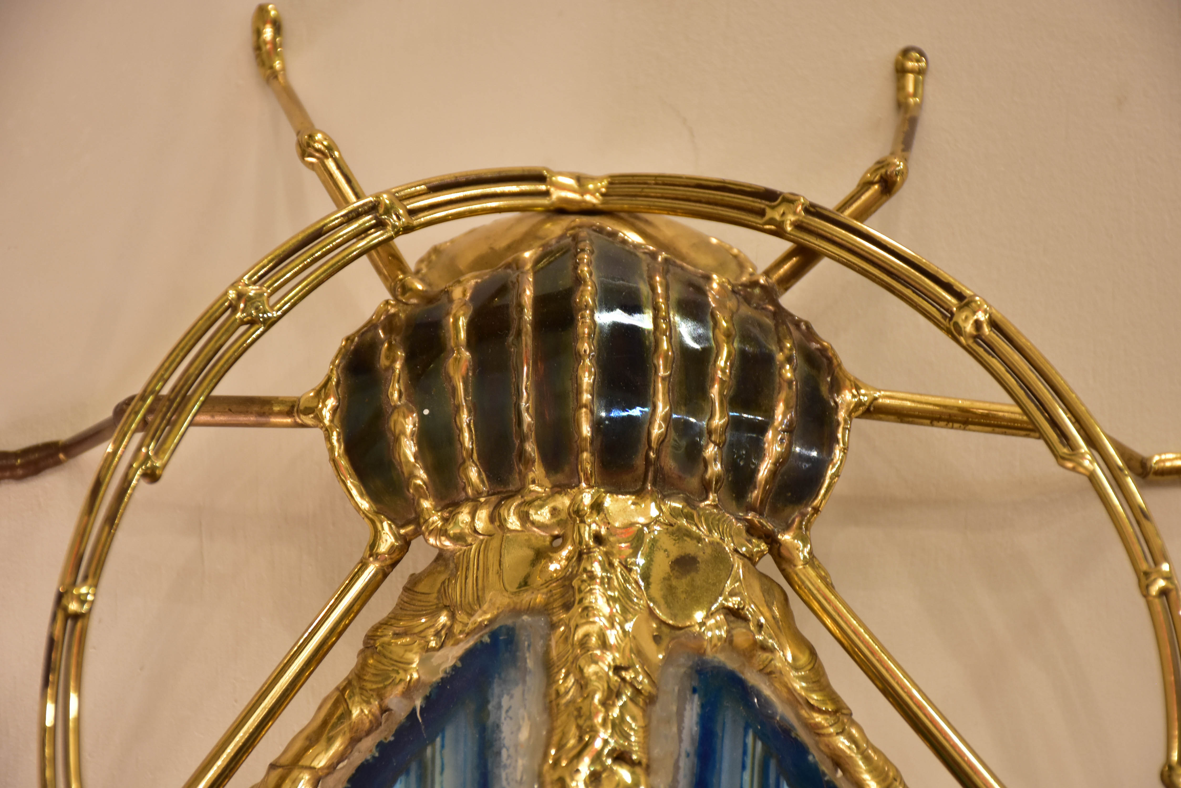 Vintage Duval Brasseur beetle wall sconce – blue agate, bronze and brass