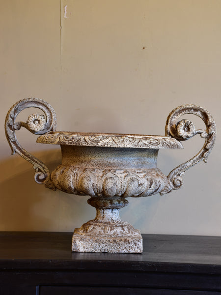 Antique French garden urn with decorative handles