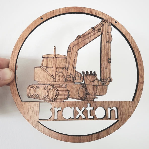 Digger personalised wall hanging