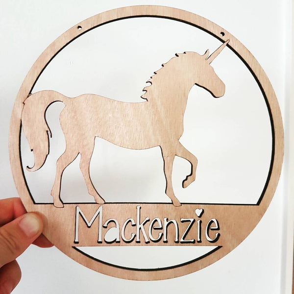 Unicorn personalised wall hanging