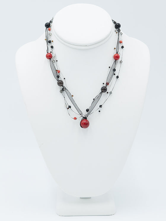 Red and Black Ribbon Necklace