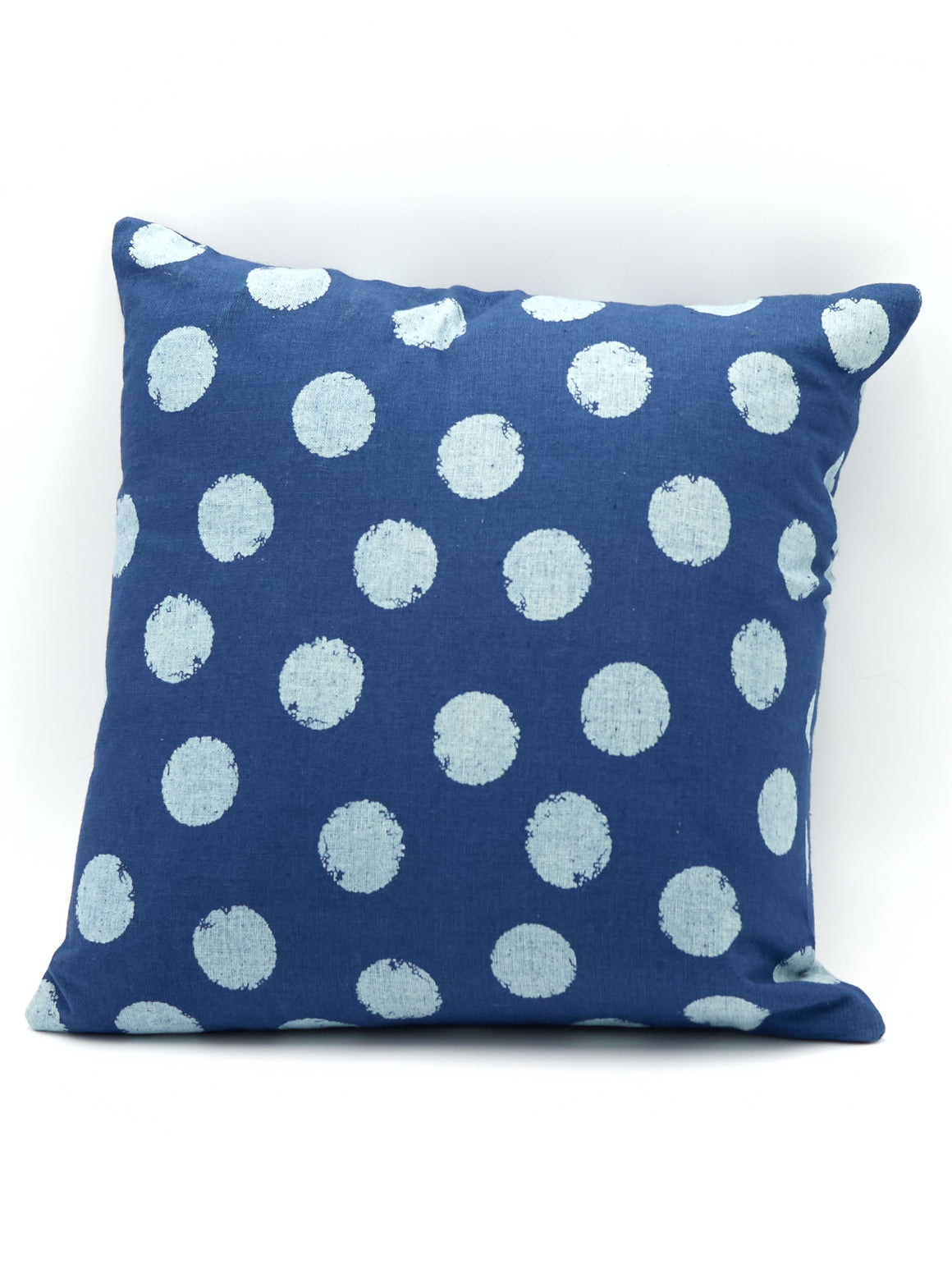 Blue Dotty Cotton Cushion