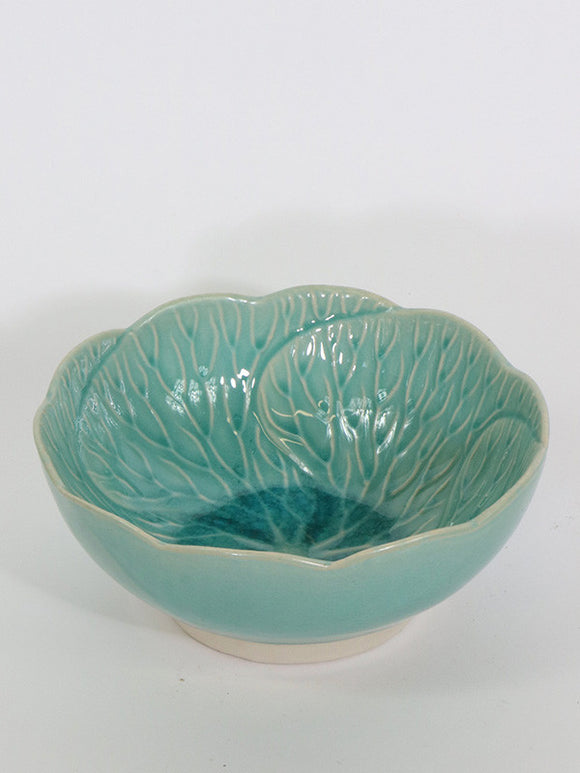 Cabbage Leaf Bowl Turquoise