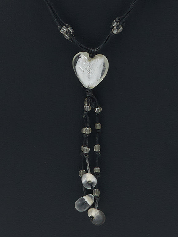 Clear Heart Bead Necklace