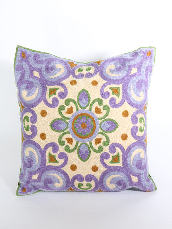 Purple and Cream Embroidered Cushion