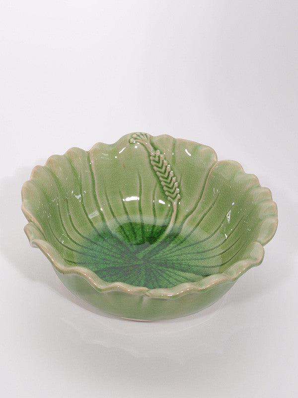 Green Bowl with Corn Motif