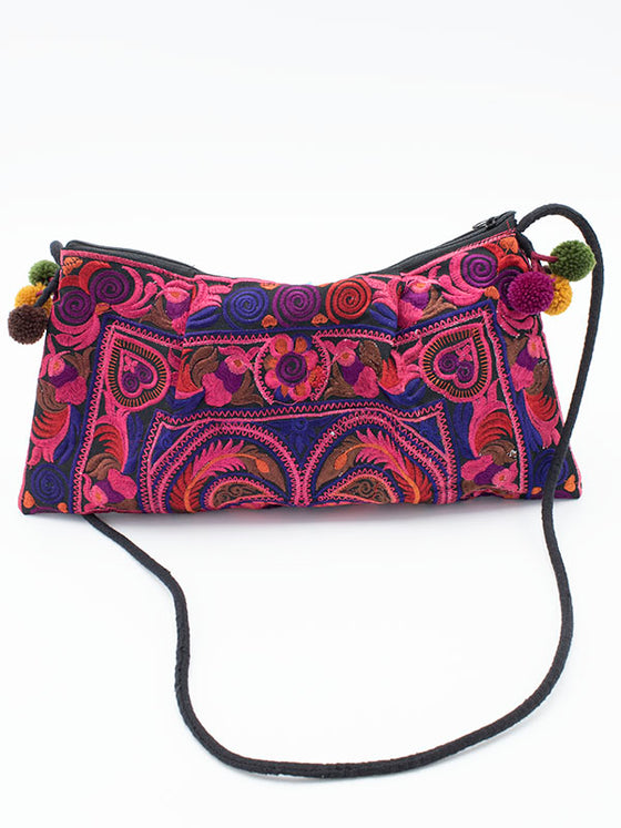 Hill Tribe Embroidered Pink Bag