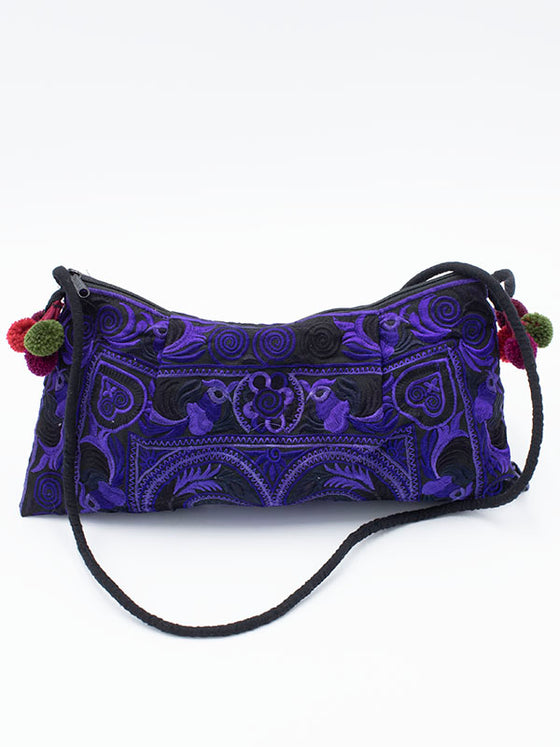 Tribe Embroidered Purple Bag