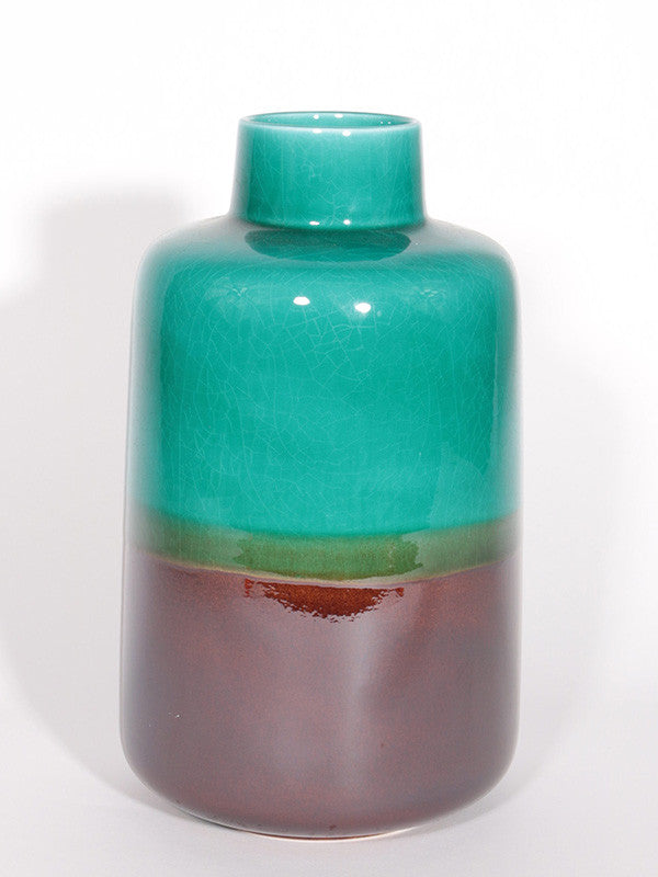 Aqua and Mirror Brown Bottle Vase